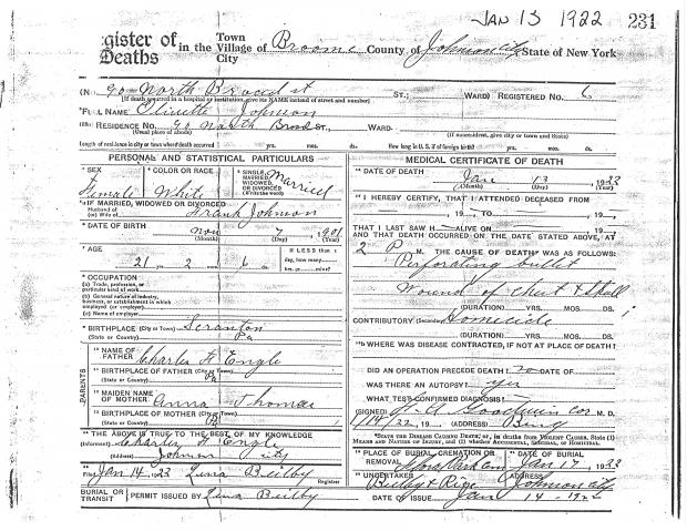 Olivette Engle Crum Johnson's Death Certificate