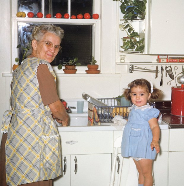 Grandma Page & me in our kitchen.