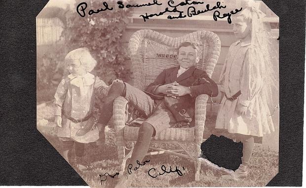 Paul Samuel Caton (left) and Harold and Beaulah Royce, 1912, Dos Palos, CA