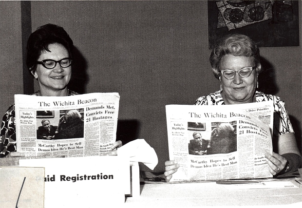 Two Women from Wichita reading about Yet Another Unsuccessful Run by Gene McCarthy for President