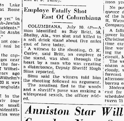 Date:  July 10, 1948  Newspaper:  Anniston Star, Anniston, Alabama