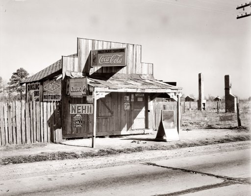 "December 1935. ""Coca-Cola shack in Alabama."" Photograph by Walker Evans.  http://www.shorpy.com/node/140"