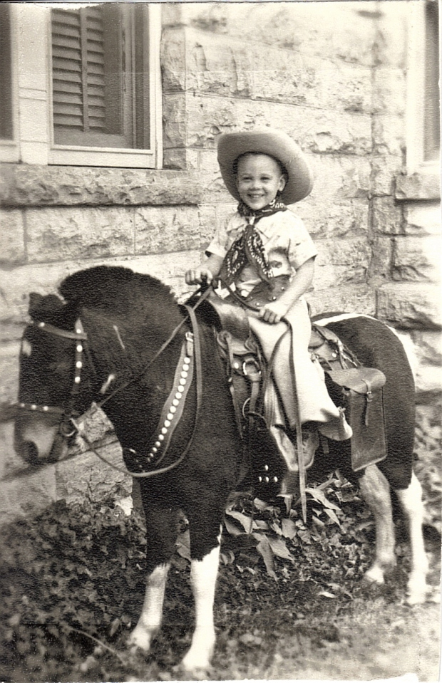 Joe on Pony in Front of Granny's House in Winfield, Kansas