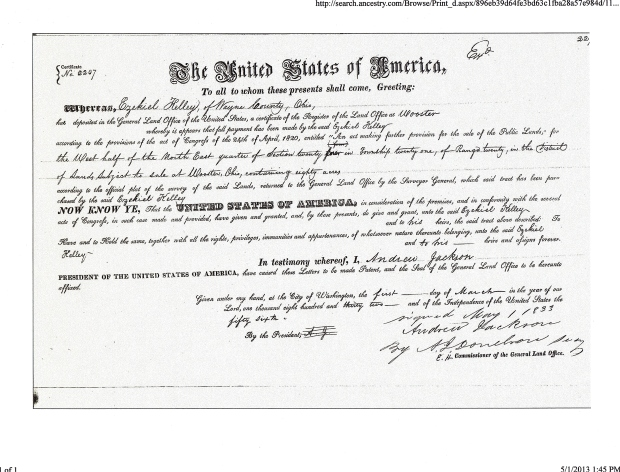 Ezekiel Kelley, Land Office Record