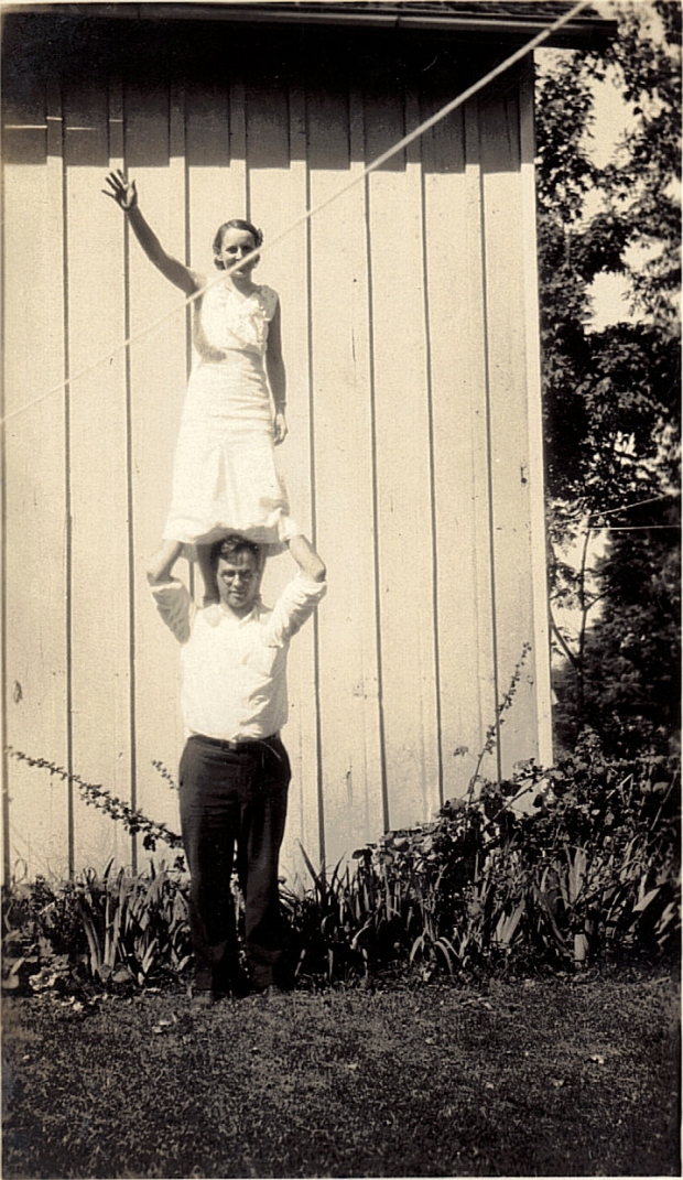 Couple with Clothes Line.  Taken at Oswego, NY