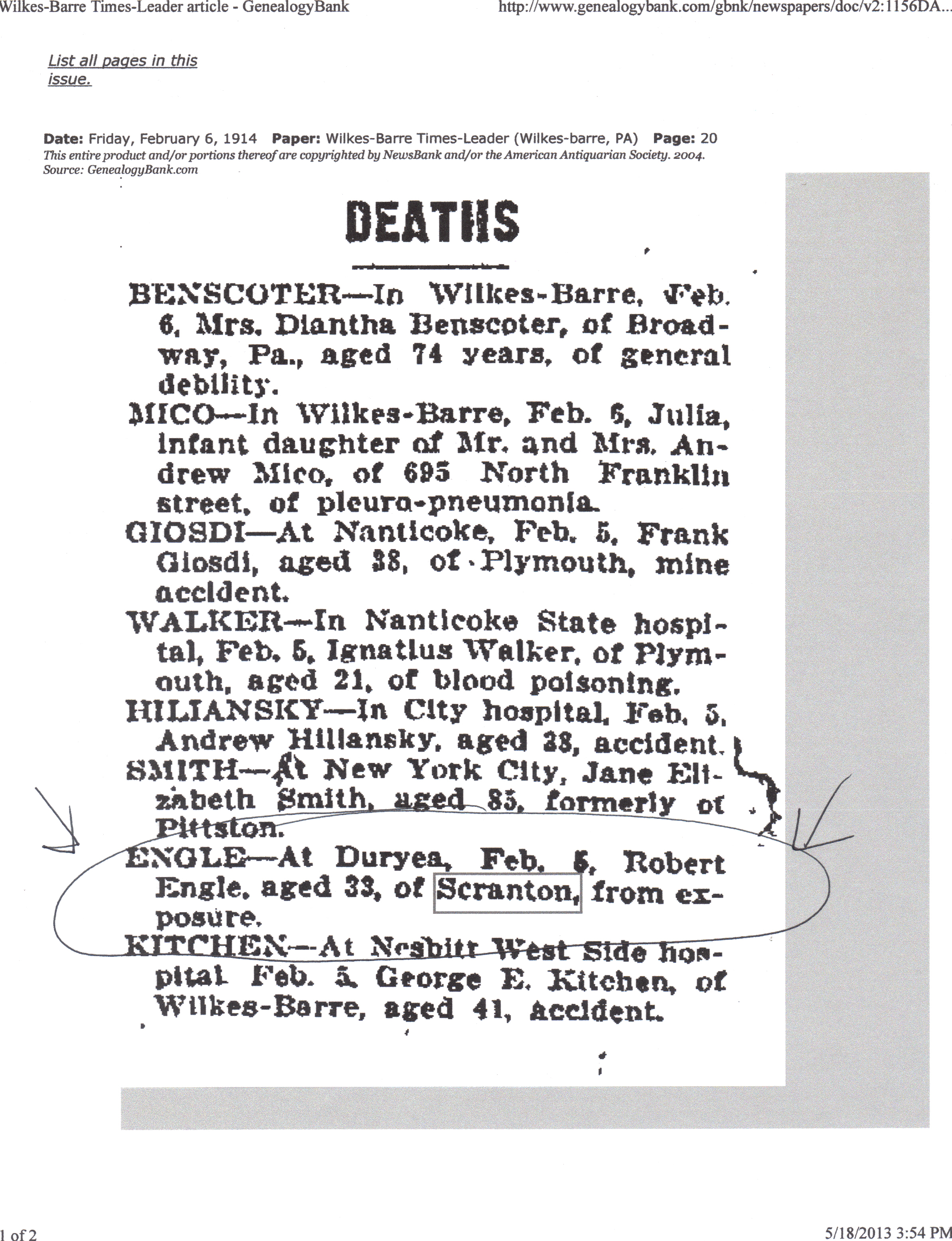 Death certificate posts about dead relatives i wonder if this is the same robert engle who was paralyzed the death certificate should show if he belongs to the george w engle family and if so xflitez Choice Image