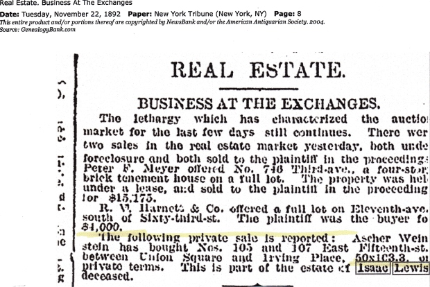 Real Estate, Business at the Exchanges.  Printed in the New York Tribune on Tuesday, November 22, 1892.